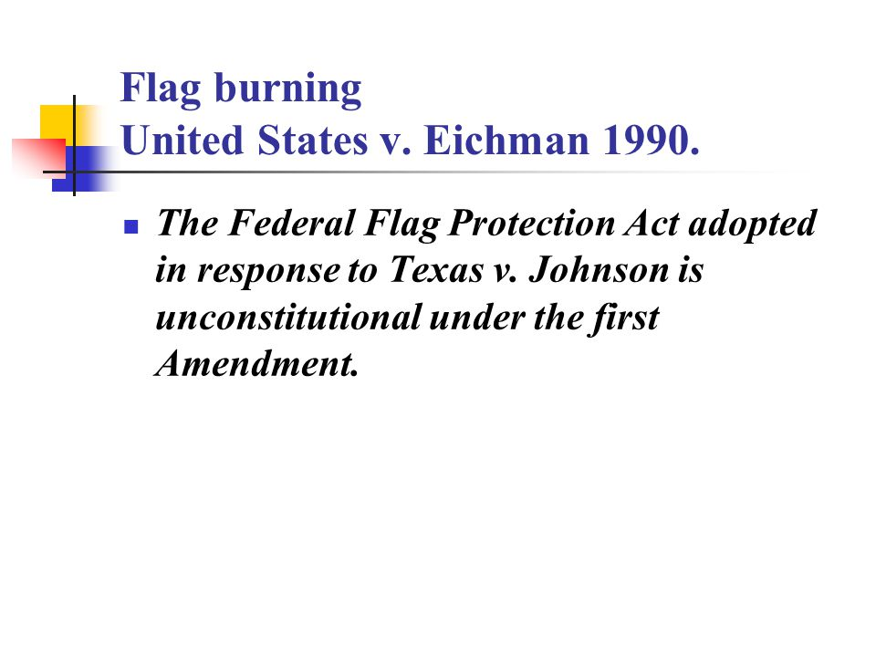 an analysis of first amendment in flag burning Essay about analysis of the case of the pledge of allegiance - the primary goal of this essay is to examine whether the first amendment goes too far in protecting free speech, like the case of the pledge of allegiance.