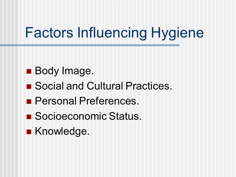Factors Influencing Hygiene Body Image. Social and Cultural Practices.