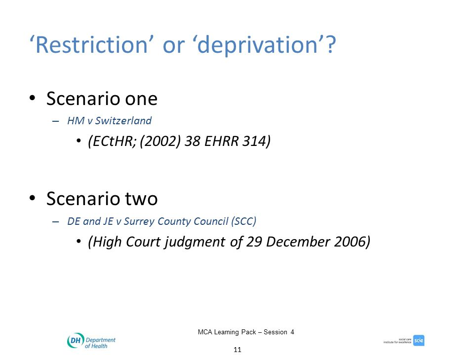 11 MCA Learning Pack – Session 4 'Restriction' or 'deprivation'.