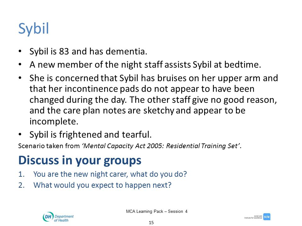 15 MCA Learning Pack – Session 4 Sybil Sybil is 83 and has dementia.