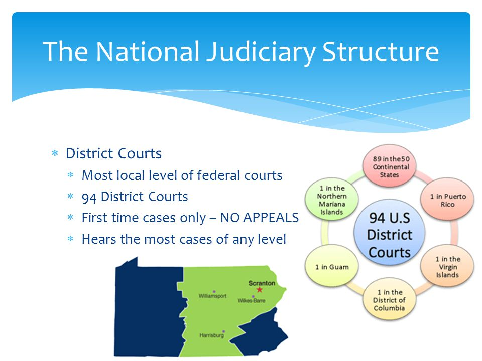 District Courts  Most local level of federal courts  94 District Courts  First time cases only – NO APPEALS  Hears the most cases of any level The National Judiciary Structure