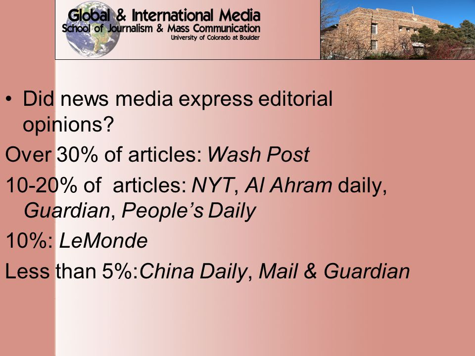 Did news media express editorial opinions.