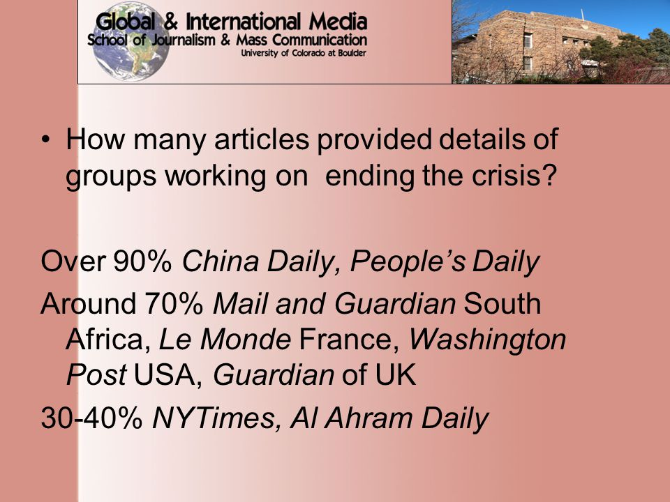 How many articles provided details of groups working on ending the crisis.