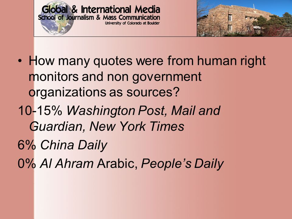 How many quotes were from human right monitors and non government organizations as sources.