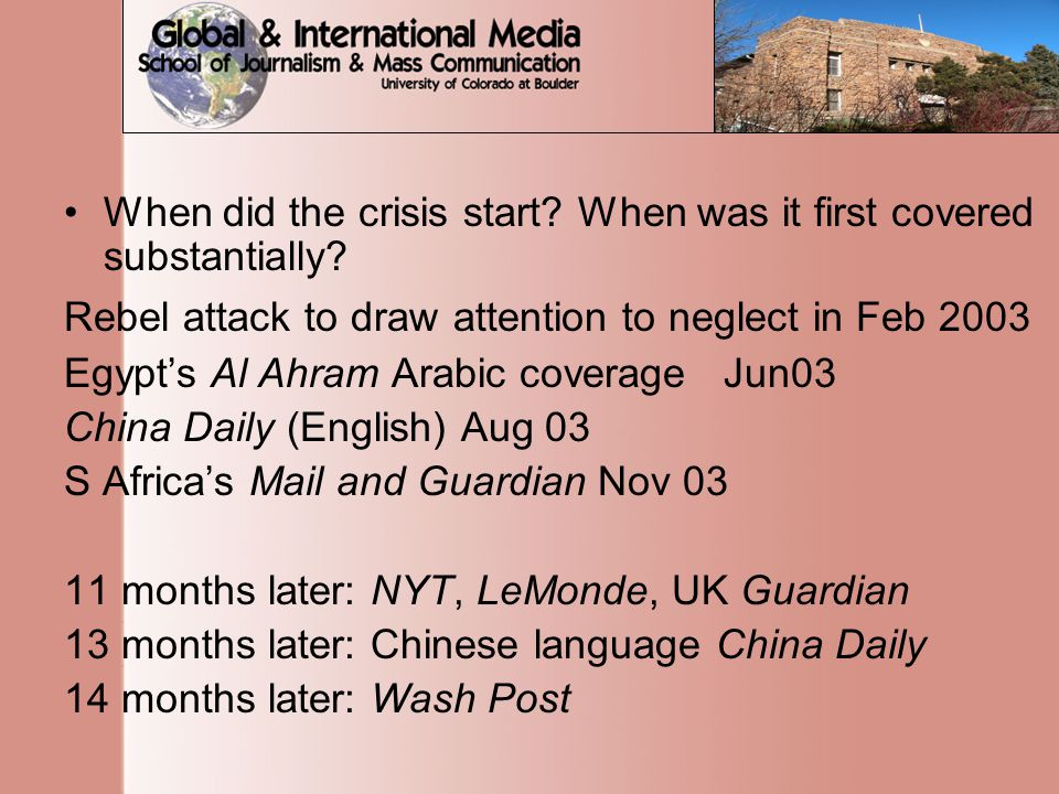When did the crisis start. When was it first covered substantially.