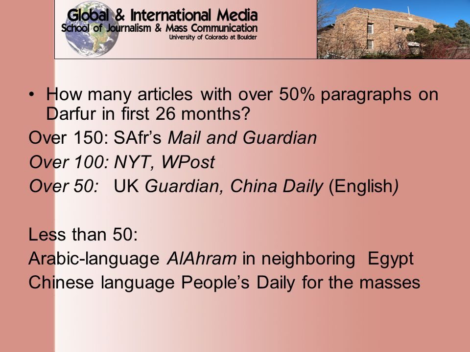 How many articles with over 50% paragraphs on Darfur in first 26 months.