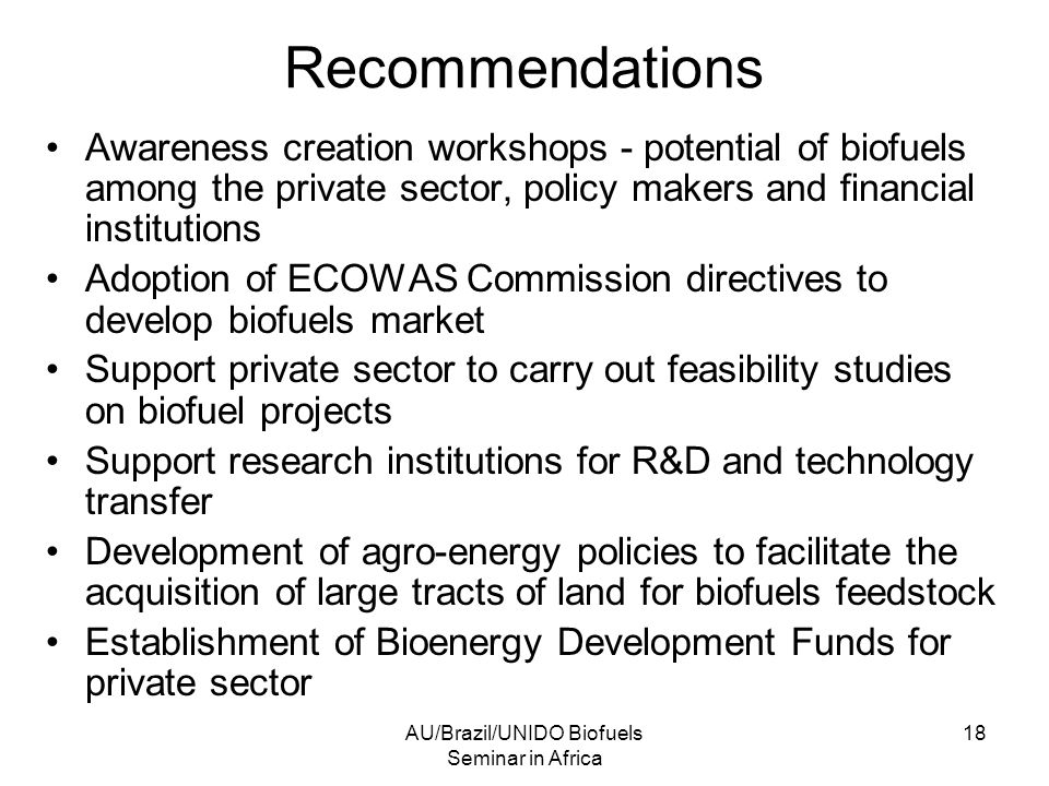 AU/Brazil/UNIDO Biofuels Seminar in Africa 18 Recommendations Awareness creation workshops - potential of biofuels among the private sector, policy makers and financial institutions Adoption of ECOWAS Commission directives to develop biofuels market Support private sector to carry out feasibility studies on biofuel projects Support research institutions for R&D and technology transfer Development of agro-energy policies to facilitate the acquisition of large tracts of land for biofuels feedstock Establishment of Bioenergy Development Funds for private sector