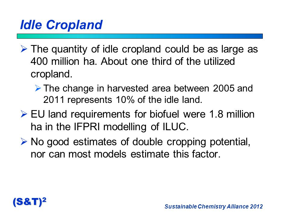 Sustainable Chemistry Alliance 2012 (S&T) 2 Idle Cropland  The quantity of idle cropland could be as large as 400 million ha.