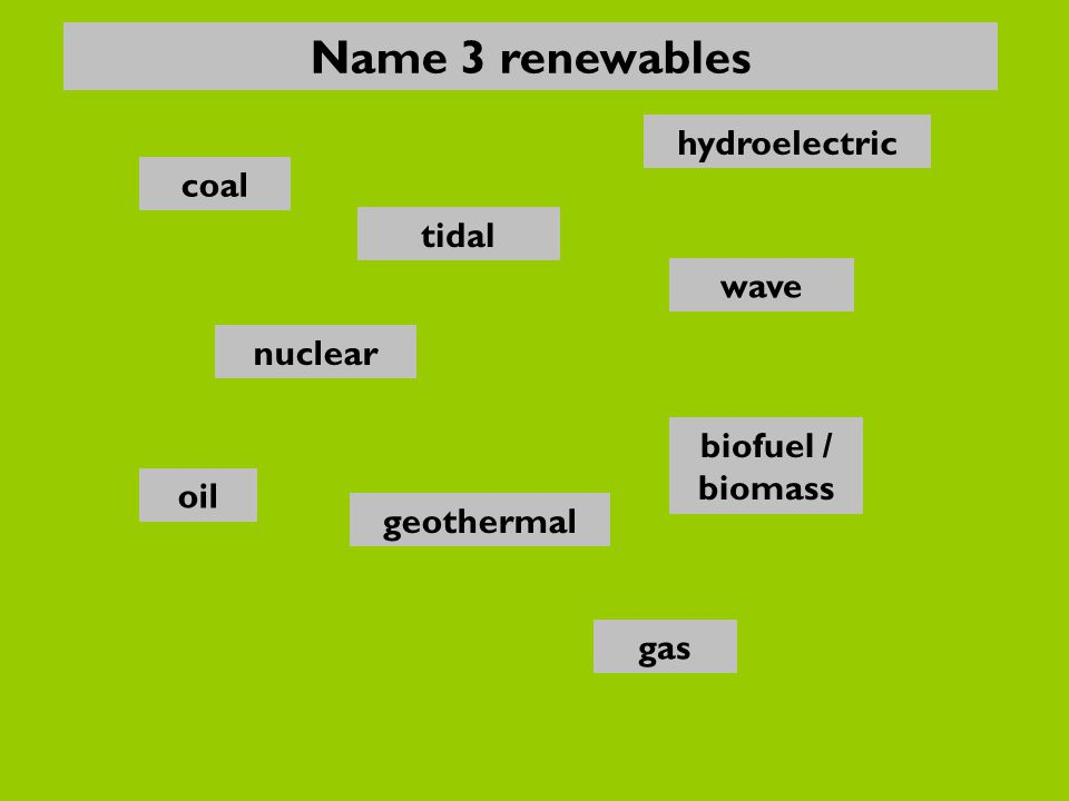 nuclear oil gas biofuel / biomass wave hydroelectric coal geothermal tidal Name 3 renewables