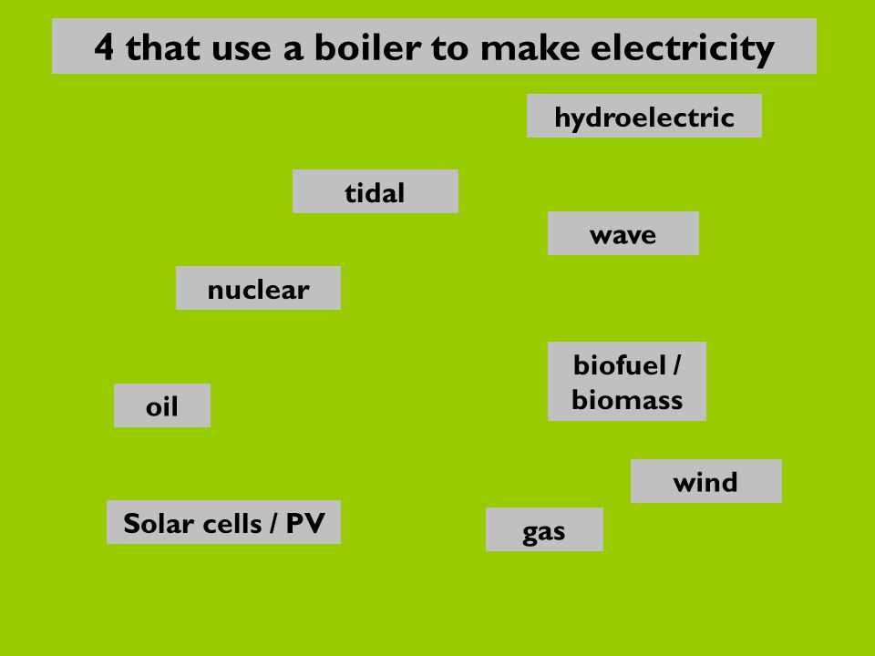 nuclear oil gas Solar cells / PV biofuel / biomass wave hydroelectric wind tidal 4 that use a boiler to make electricity