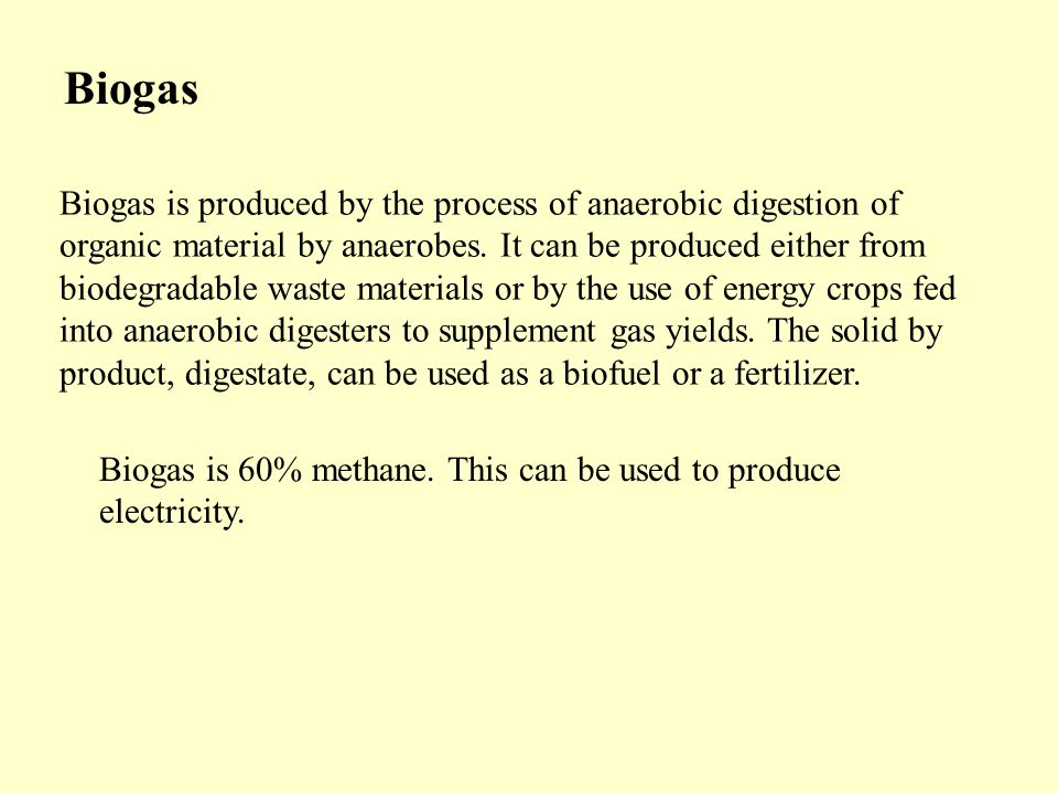 Biogas is produced by the process of anaerobic digestion of organic material by anaerobes.