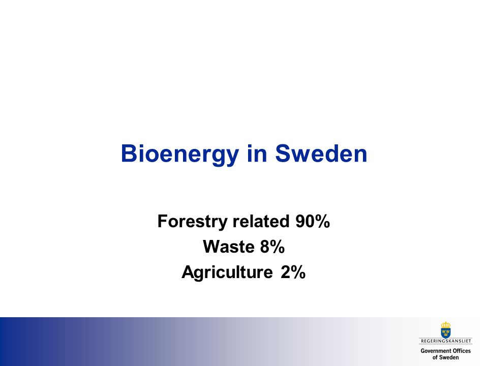Bioenergy in Sweden Forestry related 90% Waste 8% Agriculture 2%