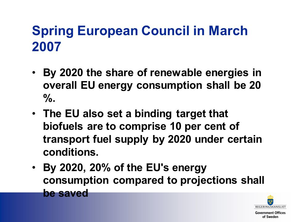 Spring European Council in March 2007 By 2020 the share of renewable energies in overall EU energy consumption shall be 20 %.
