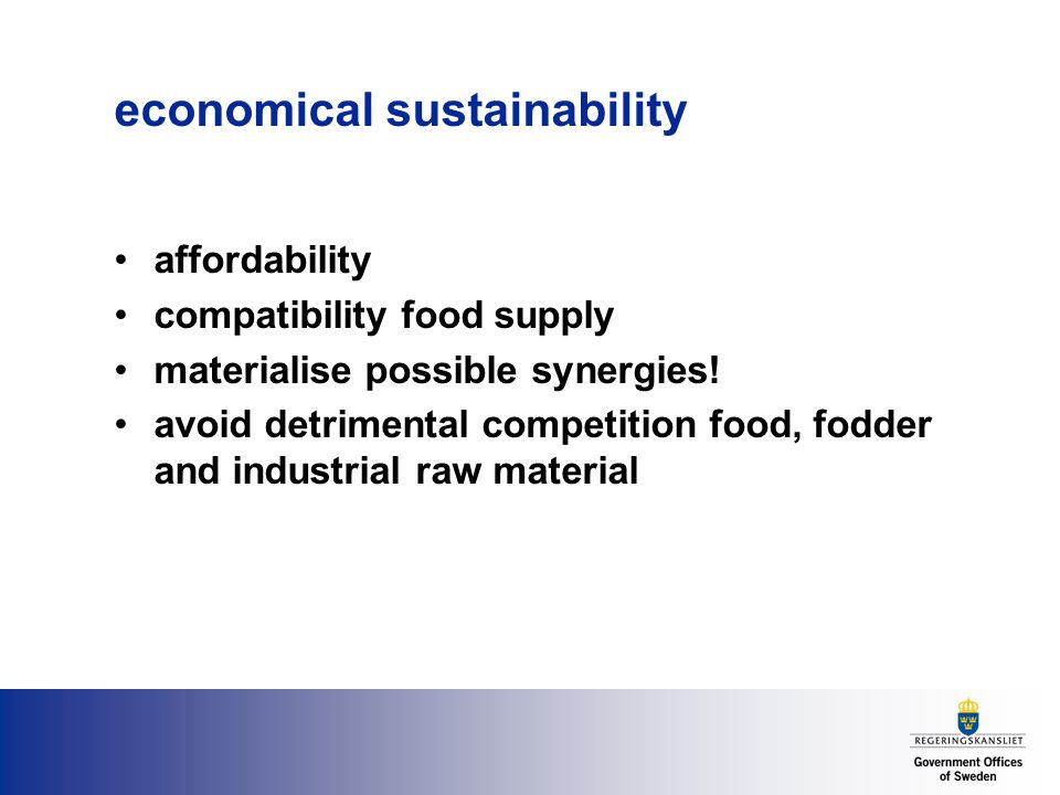 economical sustainability affordability compatibility food supply materialise possible synergies.