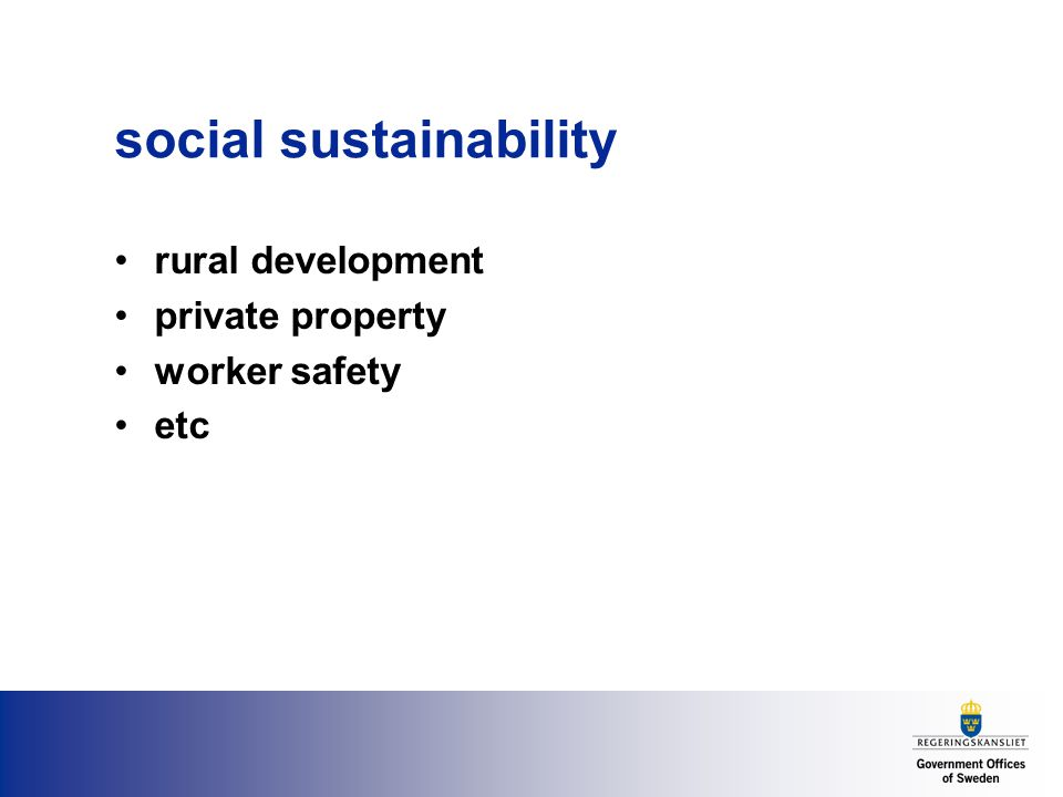social sustainability rural development private property worker safety etc