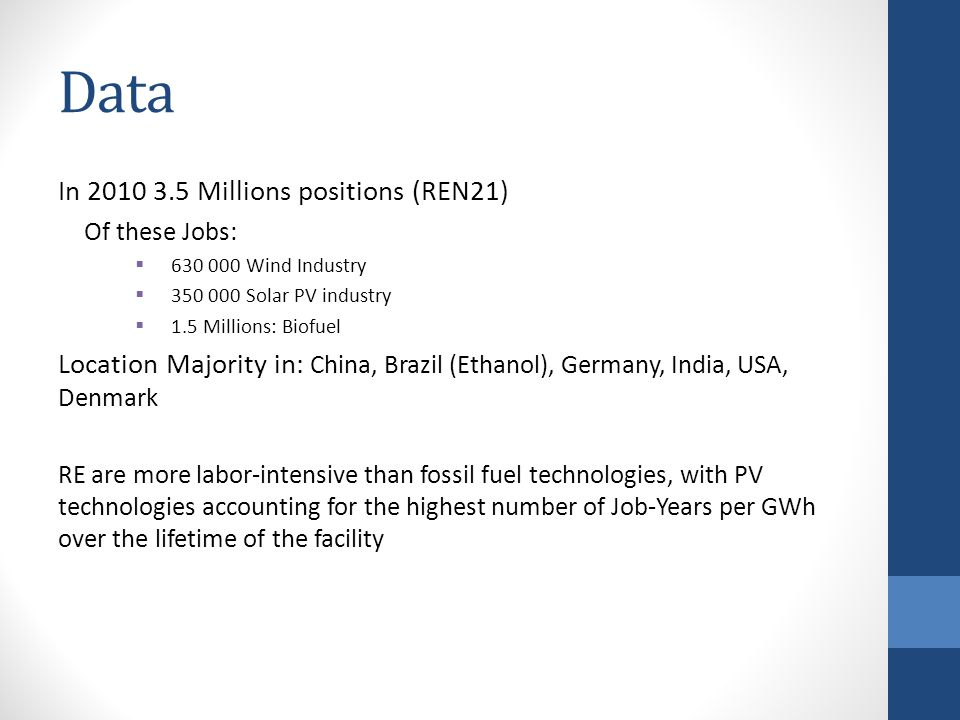 Data In Millions positions (REN21) Of these Jobs:  Wind Industry  Solar PV industry  1.5 Millions: Biofuel Location Majority in: China, Brazil (Ethanol), Germany, India, USA, Denmark RE are more labor-intensive than fossil fuel technologies, with PV technologies accounting for the highest number of Job-Years per GWh over the lifetime of the facility