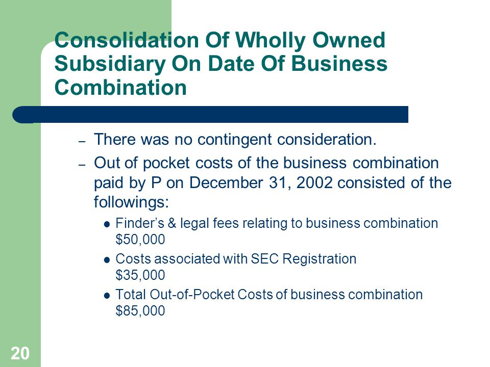 19 Consolidation Of Wholly Owned Subsidiary On Date Of Business Combination There is no question of control of a wholly owned subsidiary.