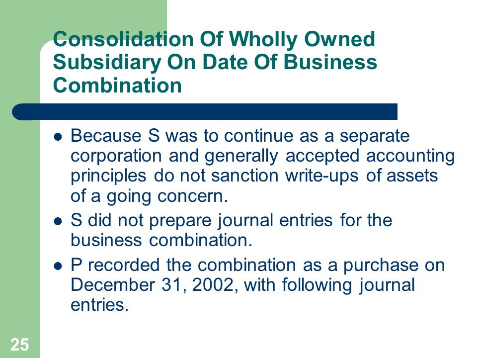 24 Consolidation Of Wholly Owned Subsidiary On Date Of Business Combination – On December , the current fair values of S company's identifiable assets and liabilities were the same as their carrying amounts, except for the Inventories, Plant Assets (net) and Patent (net).