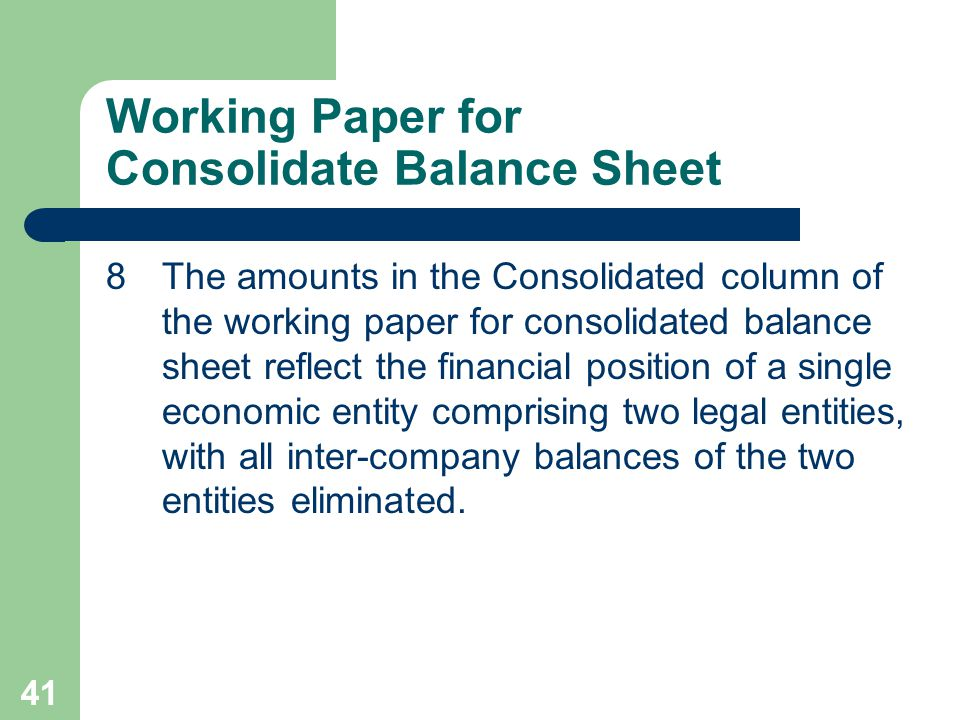 40 Working Paper for Consolidate Balance Sheet 7Consolidated retained earnings on the date of a business combination includes only the retained earnings of the parent company.