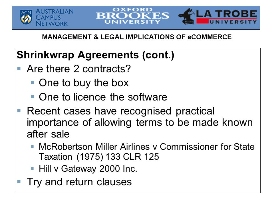 Management Legal Implications Of Ecommerce Electronic Contracts