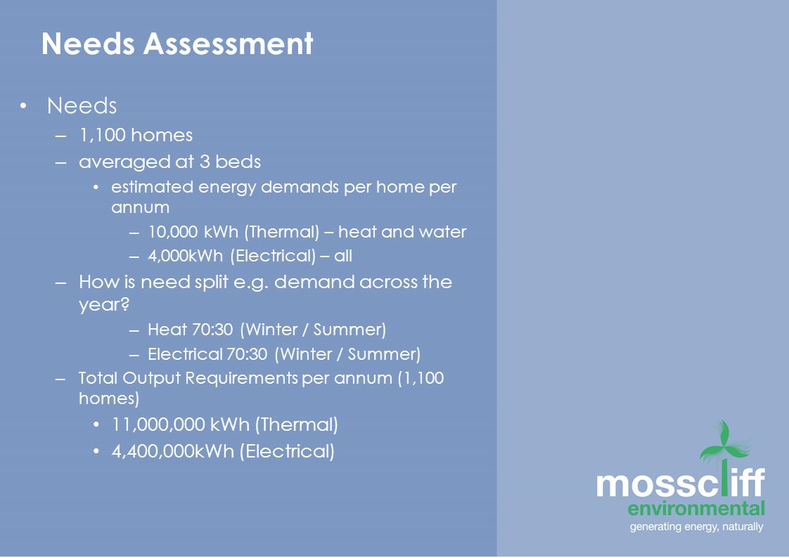 Needs Assessment Needs – 1,100 homes – averaged at 3 beds estimated energy demands per home per annum – 10,000 kWh (Thermal) – heat and water – 4,000kWh (Electrical) – all – How is need split e.g.