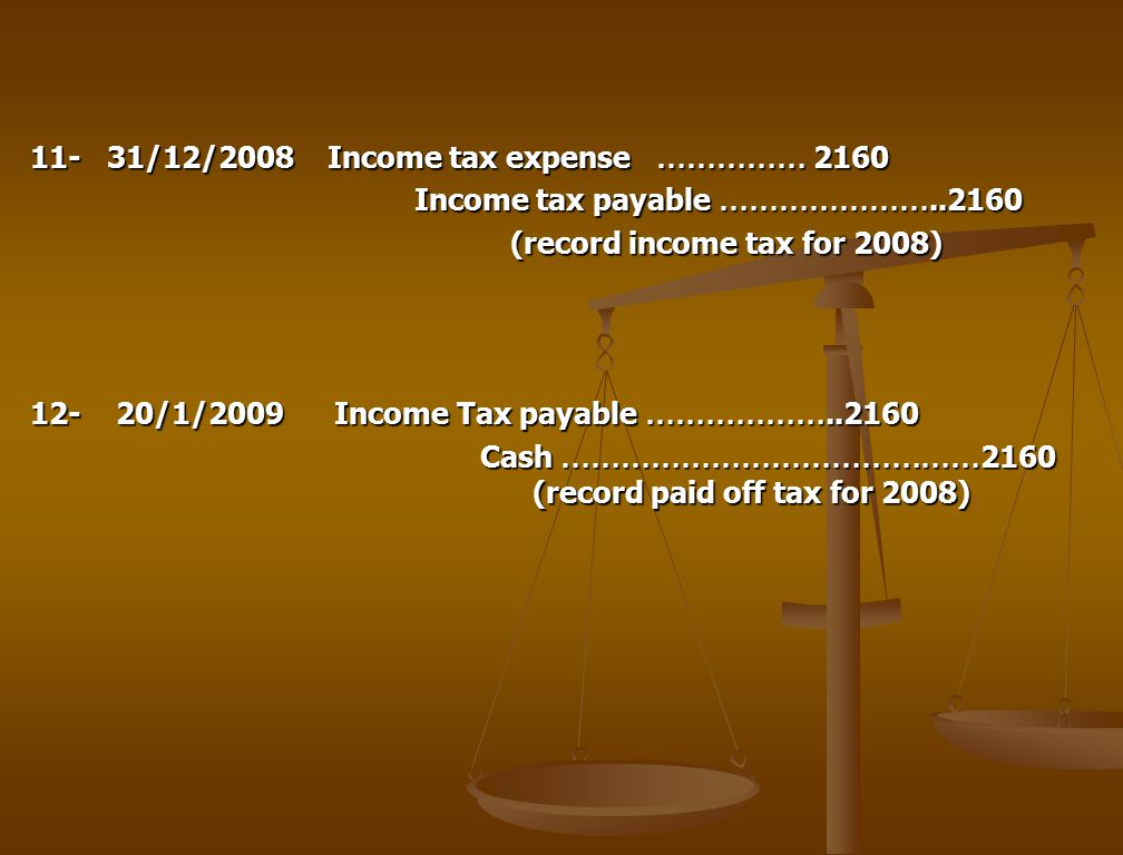 11- 31/12/2008 Income tax expense …………… 2160 Income tax payable ………………… Income tax payable ………………… (record income tax for 2008) (record income tax for 2008) /1/2009 Income Tax payable ……………… Cash …………………………………… 2160 (record paid off tax for 2008) Cash …………………………………… 2160 (record paid off tax for 2008)
