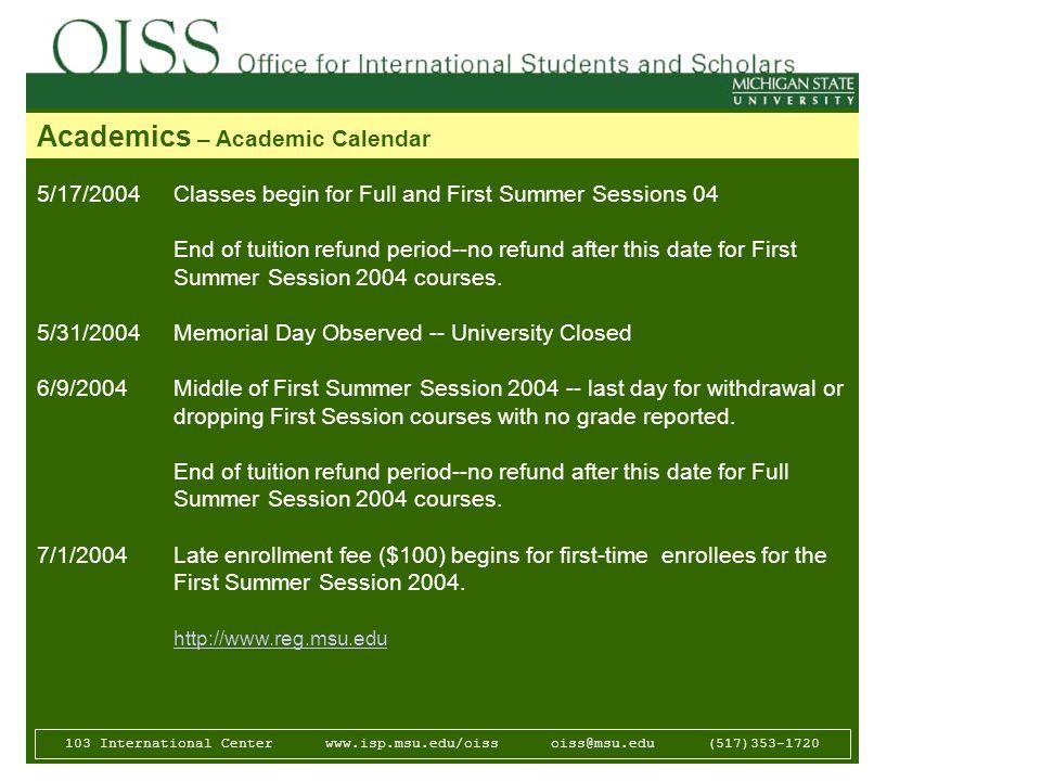 Msu Academic Calendar.Presentation Succeed In Your Classes And At Msu By Ghazala Khan