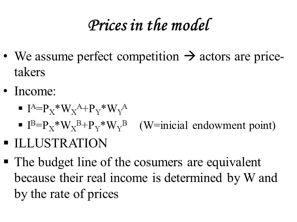 Prices in the model We assume perfect competition  actors are price- takers Income:  I A =P X *W X A +P Y *W Y A  I B =P X *W X B +P Y *W Y B (W=inicial endowment point)  ILLUSTRATION  The budget line of the cosumers are equivalent because their real income is determined by W and by the rate of prices