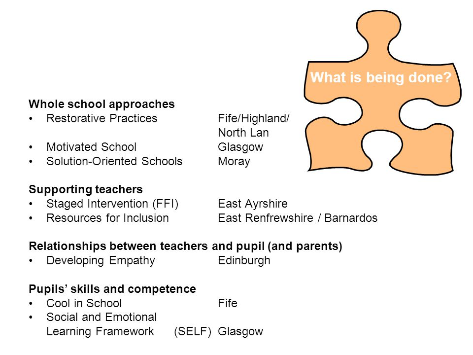 Whole school approaches Restorative PracticesFife/Highland/ North Lan Motivated School Glasgow Solution-Oriented SchoolsMoray Supporting teachers Staged Intervention (FFI)East Ayrshire Resources for InclusionEast Renfrewshire / Barnardos Relationships between teachers and pupil (and parents) Developing EmpathyEdinburgh Pupils' skills and competence Cool in SchoolFife Social and Emotional Learning Framework (SELF)Glasgow What is being done