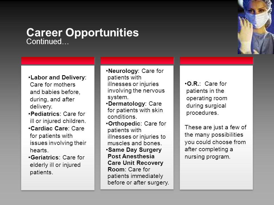 Continued… Career Opportunities Neurology: Care for patients with illnesses or injuries involving the nervous system.