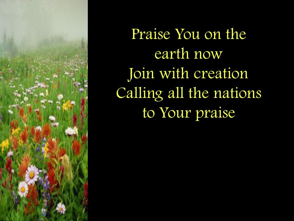 Praise You on the earth now Join with creation Calling all the nations to Your praise