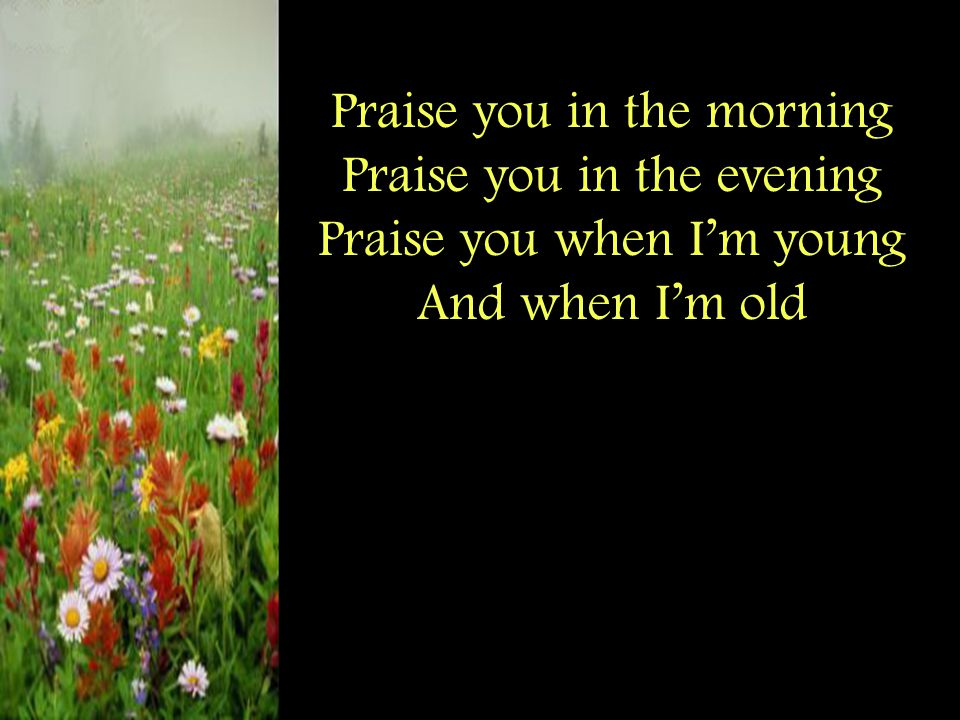 Praise you in the morning Praise you in the evening Praise you when I'm young And when I'm old