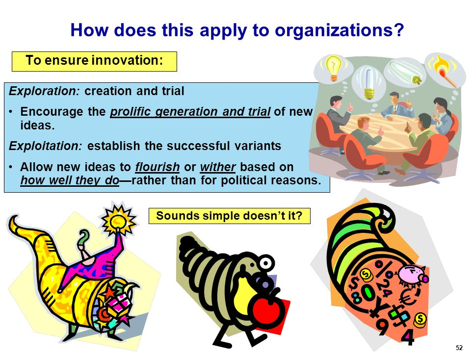 52 How does this apply to organizations. To ensure innovation: Sounds simple doesn't it.