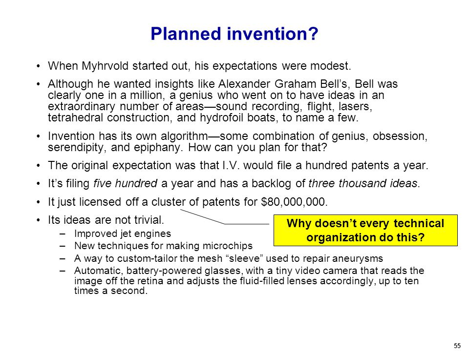 55 Planned invention. When Myhrvold started out, his expectations were modest.