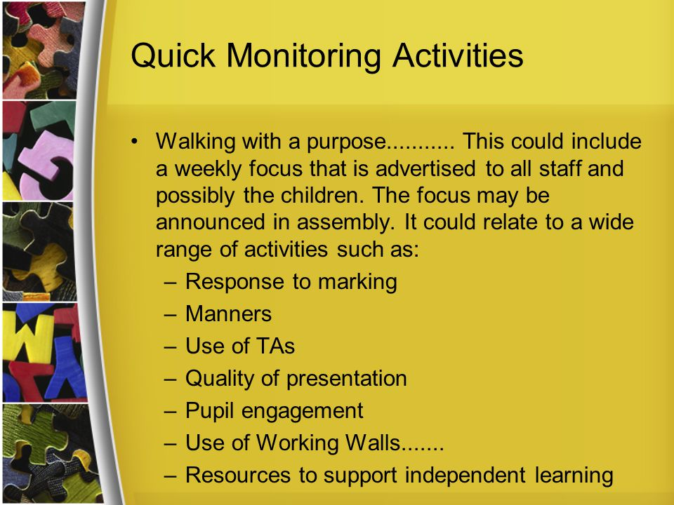 Quick Monitoring Activities Walking with a purpose