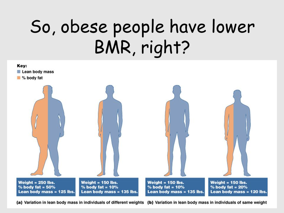 So, obese people have lower BMR, right