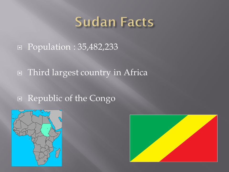  Population : 35,482,233  Third largest country in Africa  Republic of the Congo