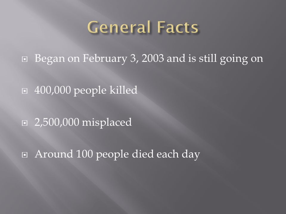  Began on February 3, 2003 and is still going on  400,000 people killed  2,500,000 misplaced  Around 100 people died each day