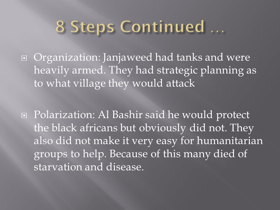  Organization: Janjaweed had tanks and were heavily armed.