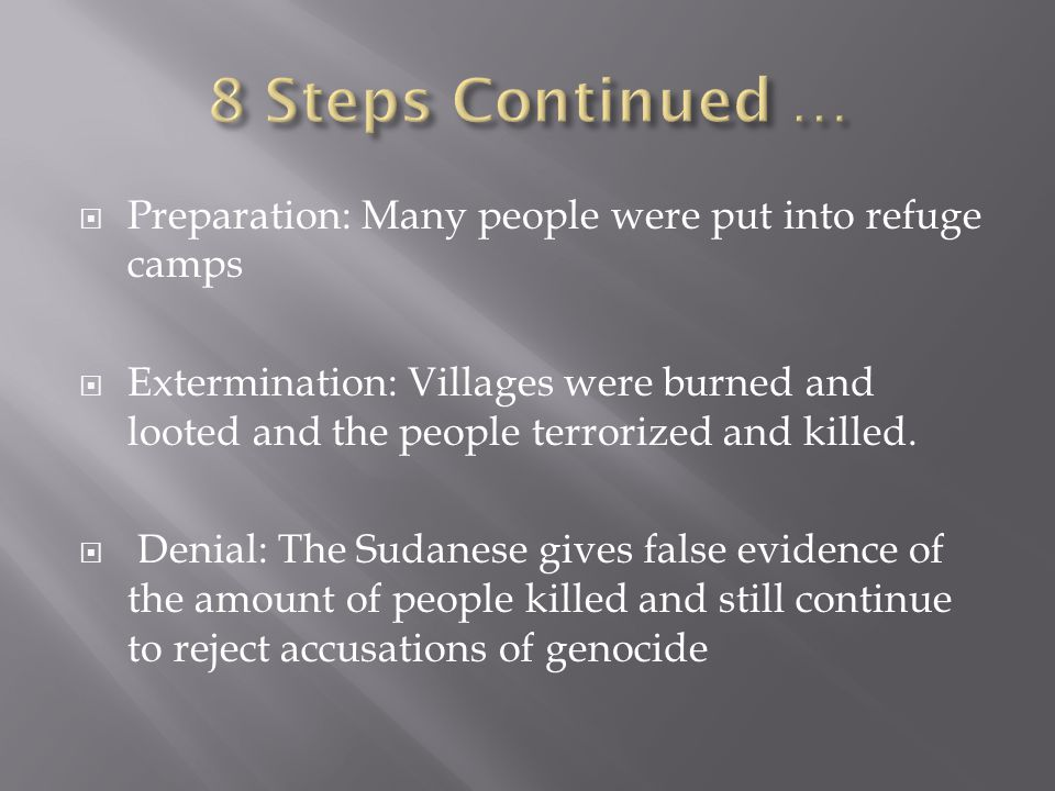 Preparation: Many people were put into refuge camps  Extermination: Villages were burned and looted and the people terrorized and killed.