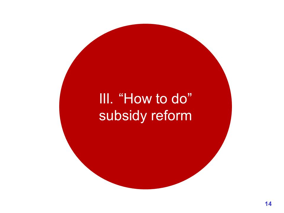 III. How to do subsidy reform 14