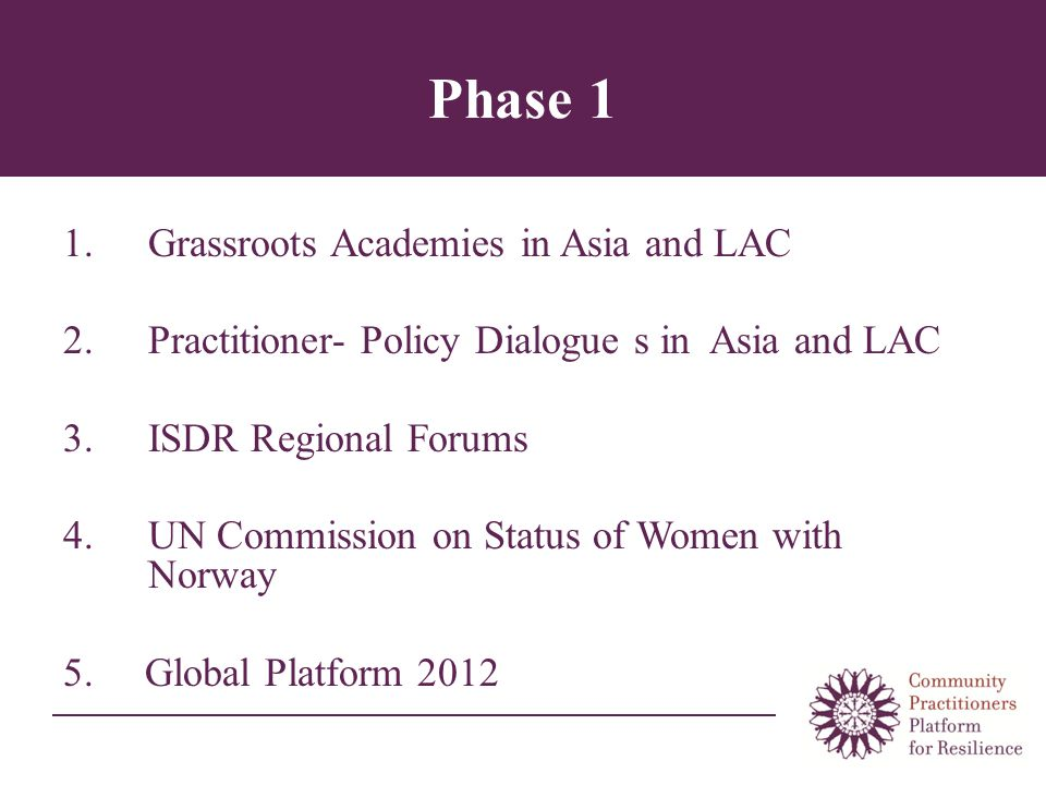 Phase 1 1.Grassroots Academies in Asia and LAC 2.Practitioner- Policy Dialogue s in Asia and LAC 3.ISDR Regional Forums 4.UN Commission on Status of Women with Norway 5.