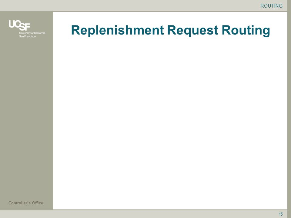 Controller's Office 15 Replenishment Request Routing ROUTING