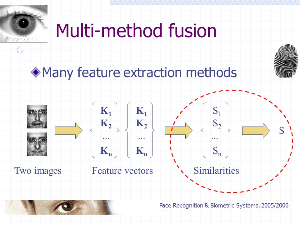 Face Recognition & Biometric Systems, 2005/2006 Multi-method fusion Many feature extraction methods S1S1 S2S2 SnSn...