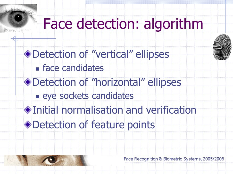 Face Recognition & Biometric Systems, 2005/2006 Face detection: algorithm Detection of vertical ellipses face candidates Detection of horizontal ellipses eye sockets candidates Initial normalisation and verification Detection of feature points