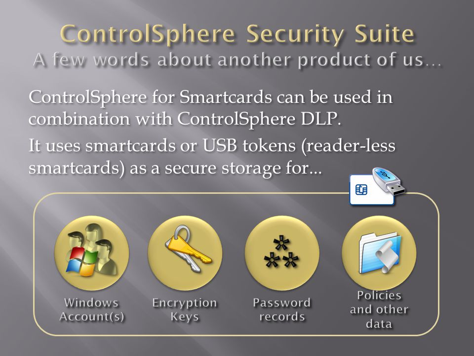 ControlSphere for Smartcards can be used in combination with ControlSphere DLP.