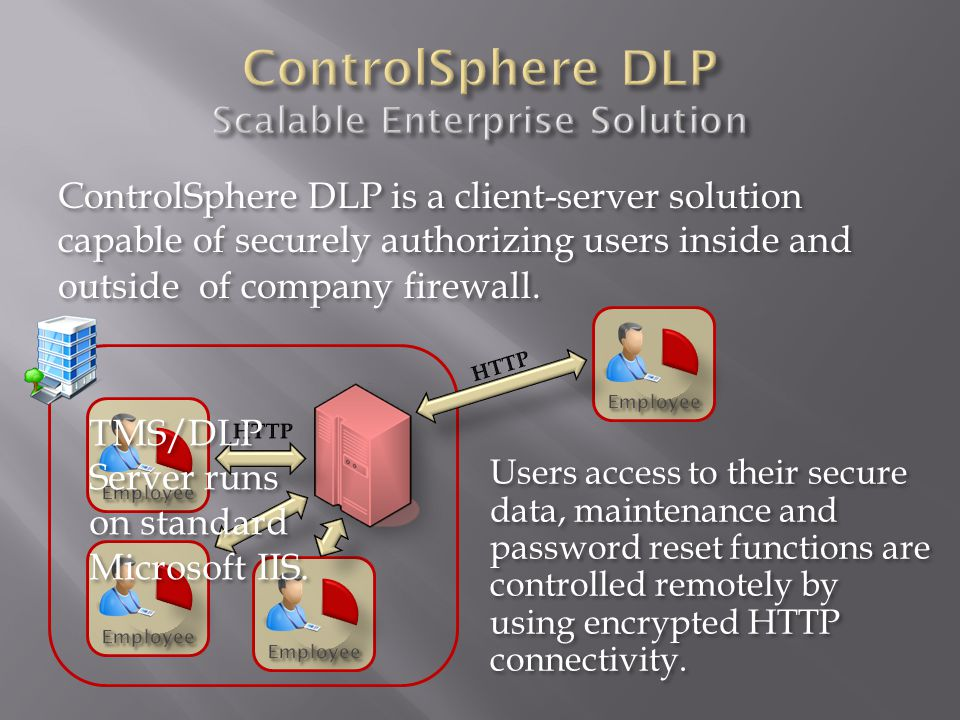 ControlSphere DLP is a client-server solution capable of securely authorizing users inside and outside of company firewall.