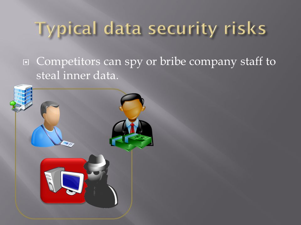 Competitors can spy or bribe company staff to steal inner data.