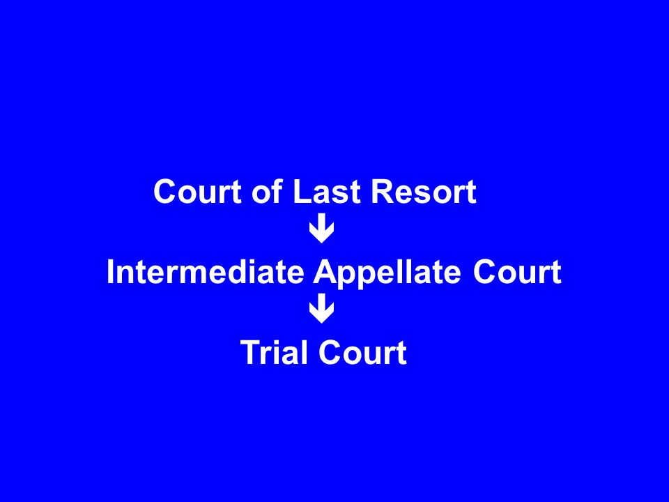 Court of Last Resort  Intermediate Appellate Court  Trial Court