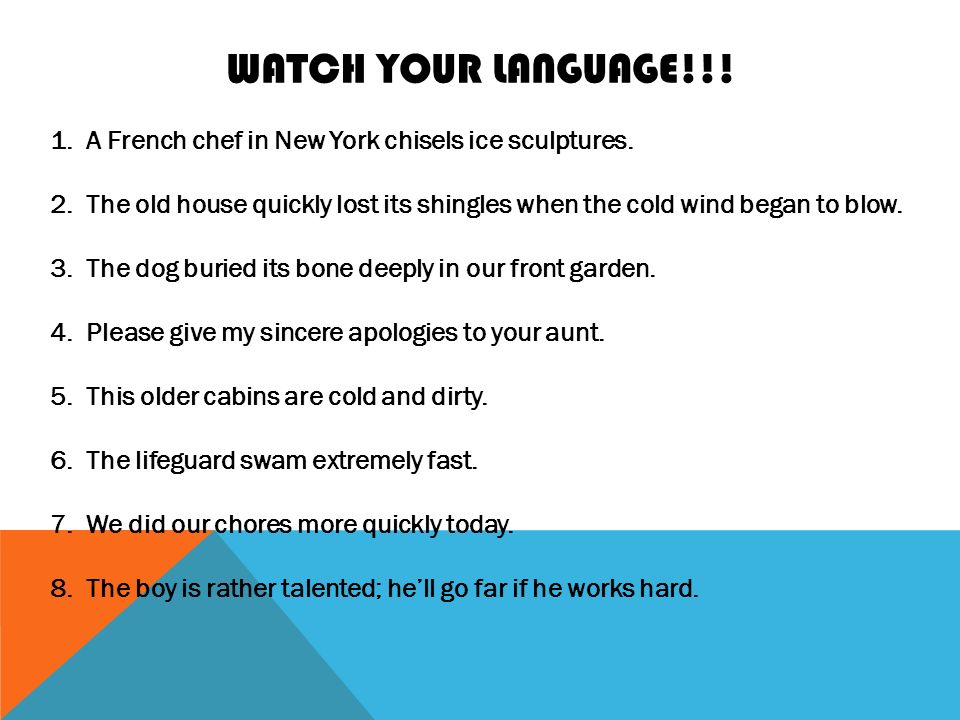 WATCH YOUR LANGUAGE!!. 1.A French chef in New York chisels ice sculptures.